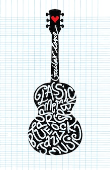 Mão, desenho, doodle, violão acústico
