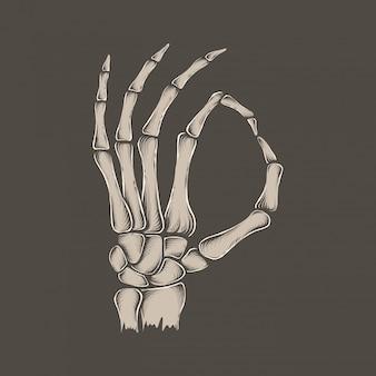 Mão desenho esqueleto vintage ok mão ilustração vetorial
