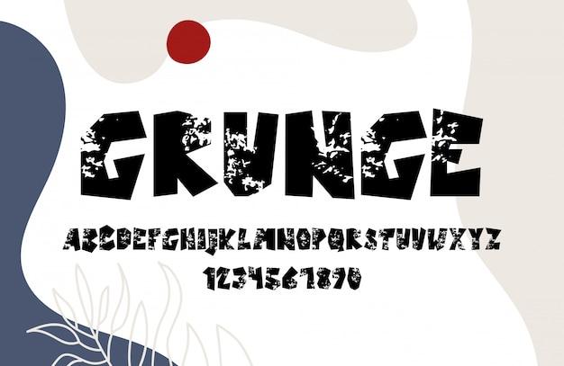 Mão desenho grunge alfabeto