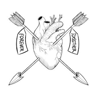 Mão, desenho, ilustração, de, conceito amor
