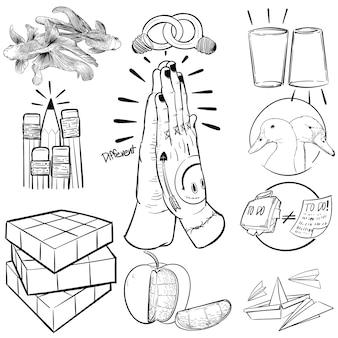 Mão, desenho, ilustração, de, individualidade
