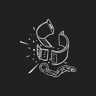 Mão, desenho, ilustração, de, justiça, conecept