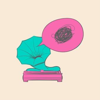 Mão, desenho, ilustração, de, música, entretenimento, conceito