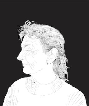 Mão, desenho, ilustração, de, rosto humano