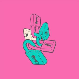 Mão, desenho, ilustração, de, segurança, conceito