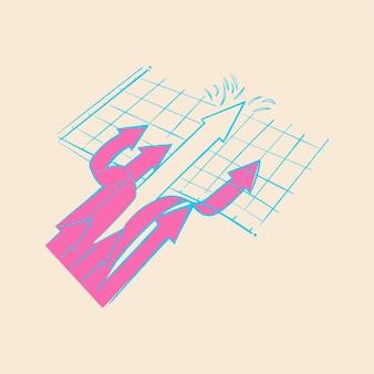 Mão, desenho, ilustração, de, sucedido, conceito