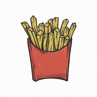 Mão desenho ilustração em vetor vintage batatas fritas