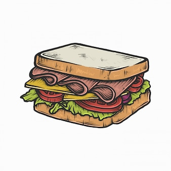 Mão desenho ilustração em vetor vintage sanduíche