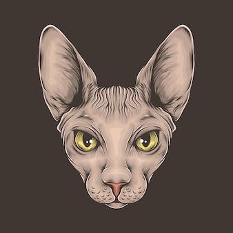 Mão desenho ilustração em vetor vintage sphynx gato cabeça