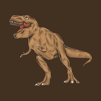 Mão desenho ilustração em vetor vintage t-rex