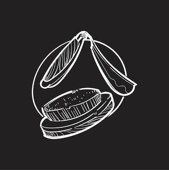 Mão, desenho, ilustração, hipster, estilo, conceito