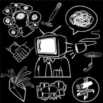 Mão, desenho, ilustração, jogo, de, comunicação, ícones