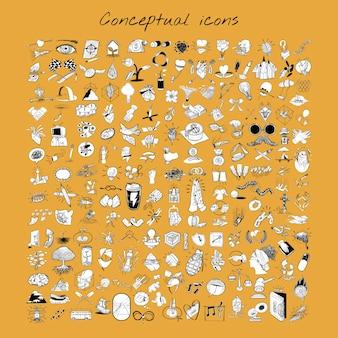 Mão, desenho, ilustração, misturado, jogo, de, estilo vida
