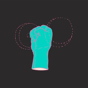 Mão, desenho, ilustração, poder, força, conceito