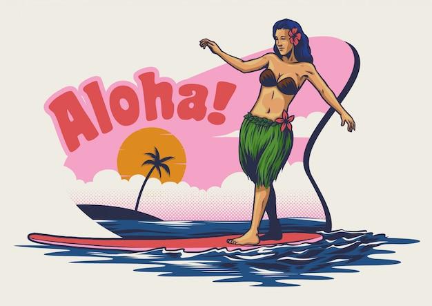 Mão, desenho, menina havaiana, surfando