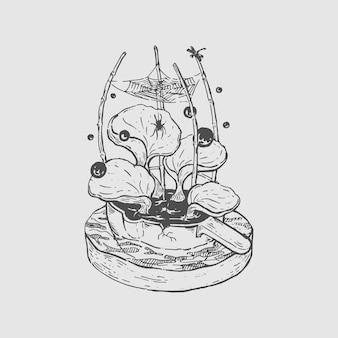 Mão, desenho, pote, com, folhas, e, aranha