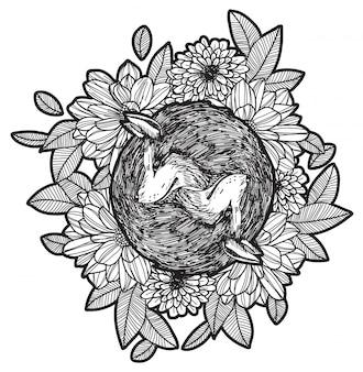 Mão, desenho, raposa, e, flor, esboço