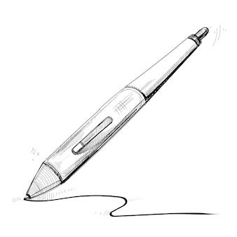 Mão, desenho, stylus digital, ilustração, isolado