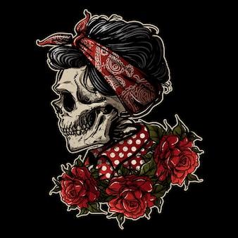 Mão, desenho, sugarskull, menina, com, rosa