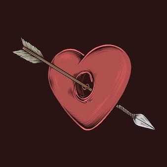 Mão, desenho, vindima, amor, seta, ilustração