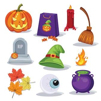 Mão desenhou coleção de itens assustadores de elementos de halloween