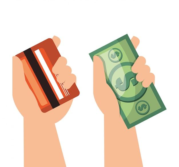 Mão dinheiro moeda cartão de crédito isolado