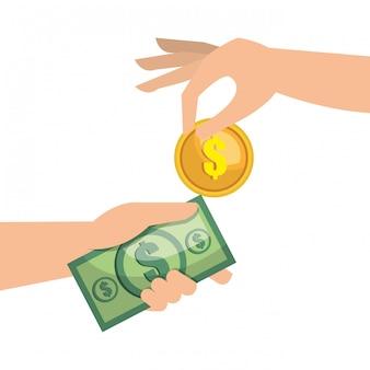 Mão dinheiro moeda dinheiro isolado