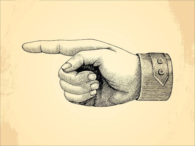 Mão direita humana, vintage de estilo de desenho