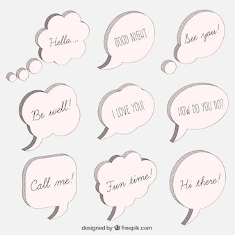 Mão discurso elaborado bolhas com mensagens