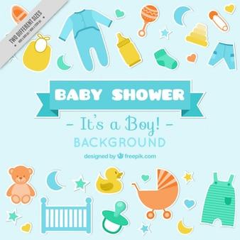 Mão do bebê desenhado elementos chuveiro fundo