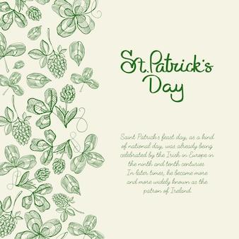 Mão do cartão do esboço do projeto decorativo monótono desenhada com letras sobre st. patricks day on right com lúpulo galhos e trevo