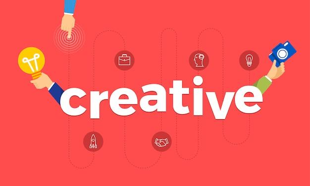 Mão do conceito criar ícone de símbolo e palavras criativas. ilustrações.