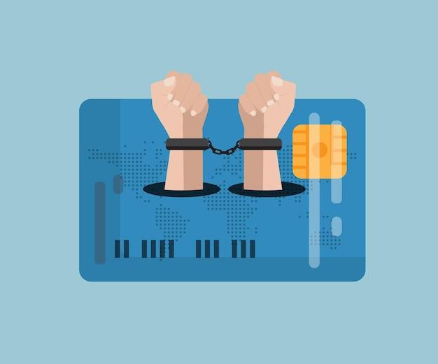 Mão do conceito de escravidão de crédito com design plano acorrentado no cartão de crédito dos desenhos animados da ilustração do vetor