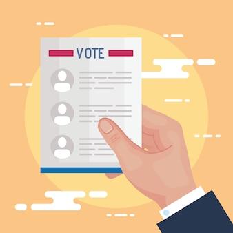 Mão do dia da eleição segurando o projeto de papel dos presidentes de votação, governo e tema de campanha