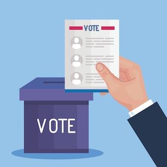 Mão do dia da eleição segurando papel dos presidentes de votação e design de caixa, governo e tema de campanha