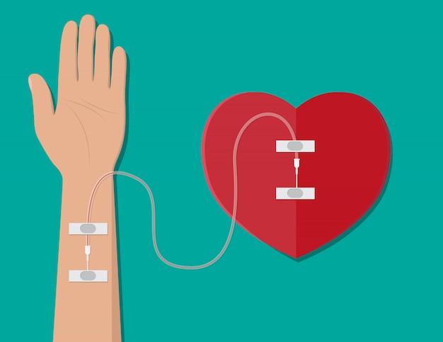 Mão do doador com coração.
