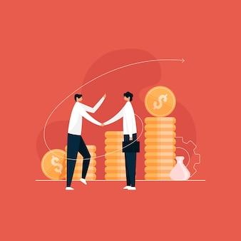 Mão do empresário apertando para o sucesso do negócio, parceria de investimento