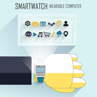 Mão do empresário com relógio inteligente e ícones técnicos no estilo de linha
