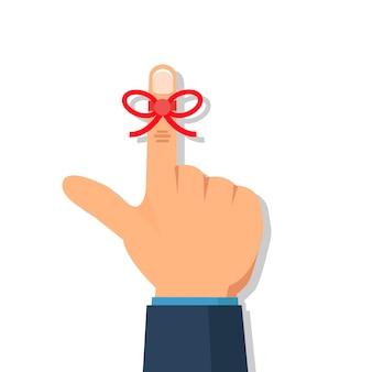 Mão do empresário com seqüência de lembrete no dedo.