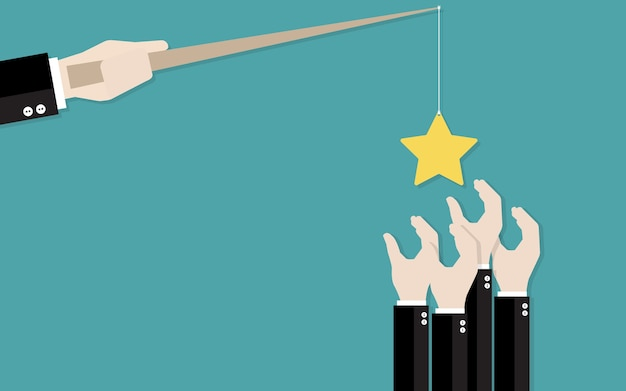 Mão do empresário pegou uma estrela