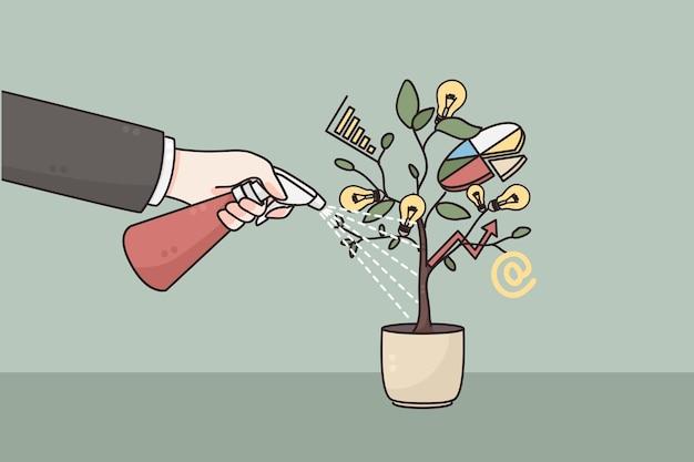 Mão do empresário regando o vaso com o desenvolvimento de um projeto de inicialização de negócios