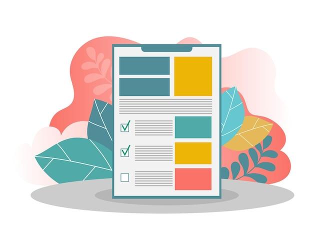 Mão do empresário segurando a prancheta com uma folha de papel. lista de verificação de tarefas com carrapatos e pontos, pesquisa. design plano criativo para web banner, material de negócios