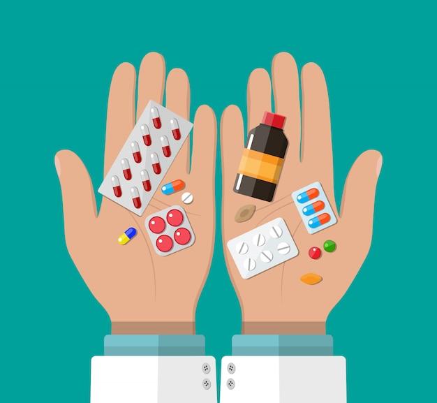 Mão do farmacêutico com pílulas e drogas
