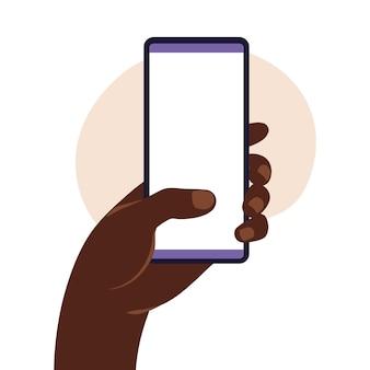 Mão do homem africano segurando o smartphone com tela branca em branco. conceito de design plano. ilustração