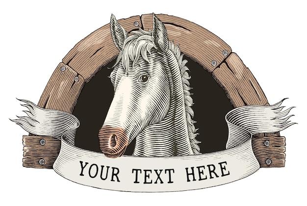Mão do logotipo da fazenda de cavalos desenhar clip-art do estilo vintage da gravura