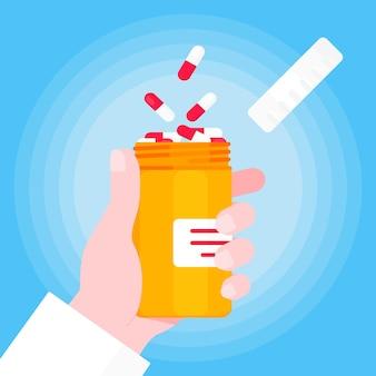 Mão do médico segura o frasco de comprimidos aberto para cápsulas ou comprimidos ilustração em vetor design estilo plano