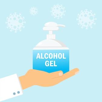 Mão do médico segurando álcool gel ou ícone de garrafa de desinfetante para as mãos, gel de lavagem. o limpador de mãos sem água protege o coronavírus ou covid-19
