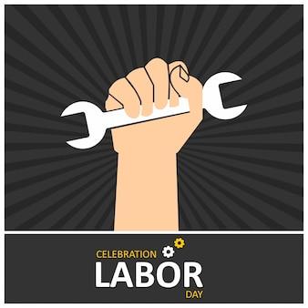 Mão do trabalhador com símbolo da chave