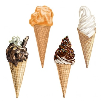 Mão doce do verão sorvete desenhada