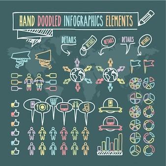 Mão doodled elementos do infographics